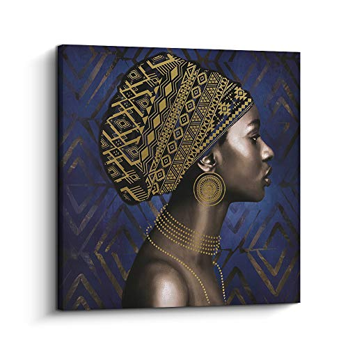 (Pi Art Framed Afro Art Canvas Print Blue and Gold Wall Decor, Traditional African Black Art Woman Portrait Modern Wall Painting for Home Decoration (32x32 inch, C))