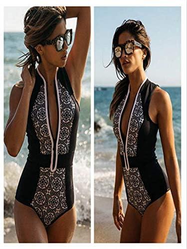 TUDUZ Retro Streifen Badeanzug Damen Sport mit Rei/ßverschluss Einteiler Bademode Rollkragen /Ärmellos Swimwear f/ür Sommer Surfing Badeanzug
