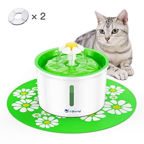 🥇 isYoung Fuente de Agua Silencioso 1.6L Gatos y Perros Bebedero Automático Fuente de Agua Sano e Higiénico con 2 Filtros de Carbón