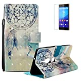 Funyye Sony Xperia XZ2 Premium Case [with Free Screen Protector],Stylish [Lanyard Strap] Magnetic Flip Soft Silicone PU Wallet Leather Case with Credit Card Holder Slots Stand Function Case for Sony Xperia XZ2 Premium,Feather Wind Chime