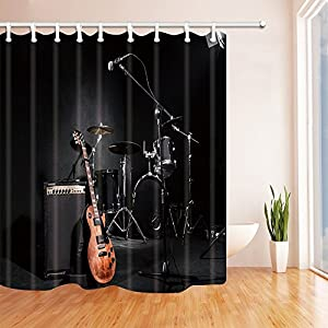 KOTOM Music Shower Curtains For Bathroom, Grunge Concert Instruments Guitar  And Drum In Black, Polyester Fabric Waterproof Bath Curtain, Shower Curtain  ...