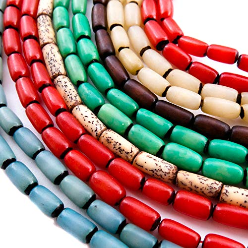 Over 350 Natural Beads for Jewelry Making - Buri and Betel Nut Bead Strands with 2 Free Necklaces for Inspiration - Great for Native American, African, Tribal, Indian Theme Bracelets and Accessories