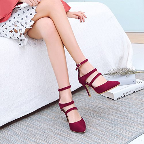 Red Ankle Faux Sandals Strappy Pointed High Suede Sexy Heel Stiletto Gladiator Buckle Easemax Womens Toe FgwqT6xcU