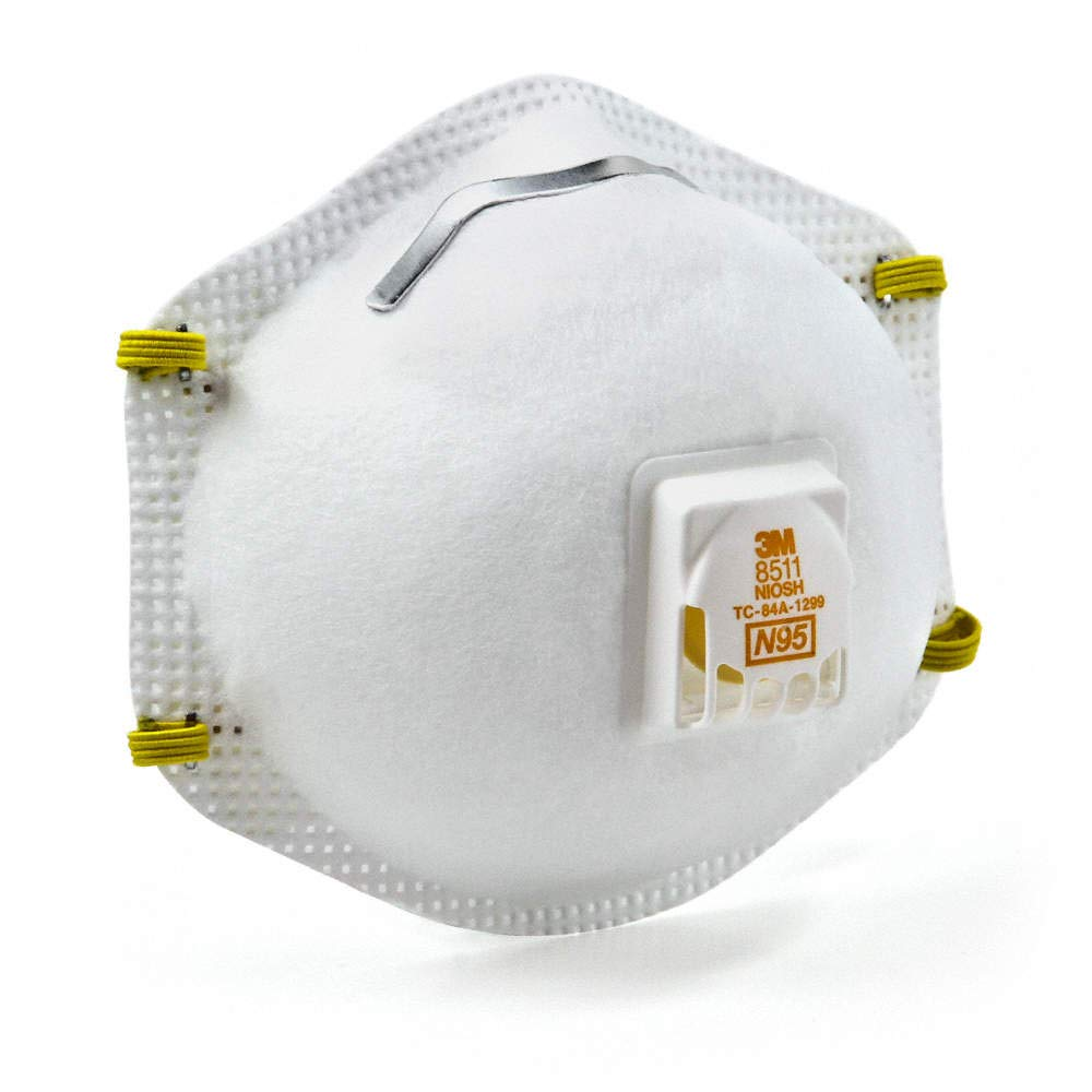 3M 8511 Particulate Respirators, N95, Cool-flow valve, Box of 10