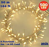 Fairy Lights 500 LED Warm White Outdoor Christmas Tree Lights String Lights - 8 Functions 50m / 164ft Power/Mains Operated Ideal for Christmas Tree Festive Wedding Birthday Party & Bedroom Decorations Indoor & Outdoor us