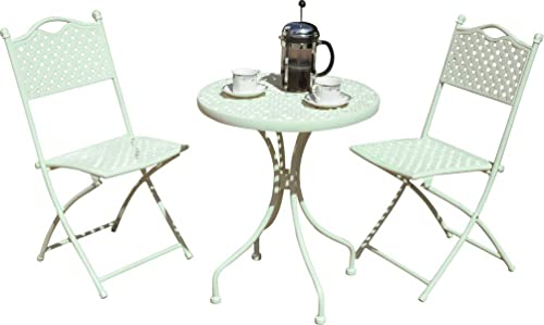 French Ornate Cream Wrought Iron Metal Garden Table And