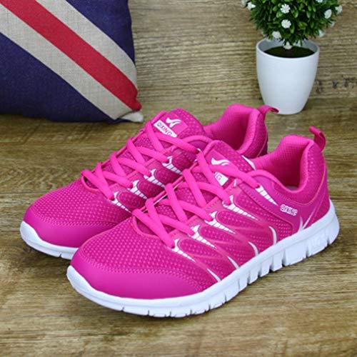 Sneakers Libre Running Ligero Unisex Deportivos Respirable Roja Mujeres Casuales Zapatos Al Zapatillas Rosa Zapatillas Moda Aire Hombres de Deportes 6nqIxRZ