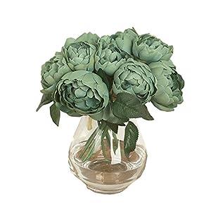 DOINSHOP Artificial Peony Silk Flower Leaf Home Wedding Party Décor 1 Bouquet 6 Heads 58