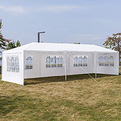 Outdoor Gazebo Canopy with Privacy Curtains Screens Tailgates 3X9m Pop Up Party Tent Beach Cabana Shade for Patio Garden Backyard Wedding Easy Up Sun Shelter Grill Pergola White : Garden & Outdoor