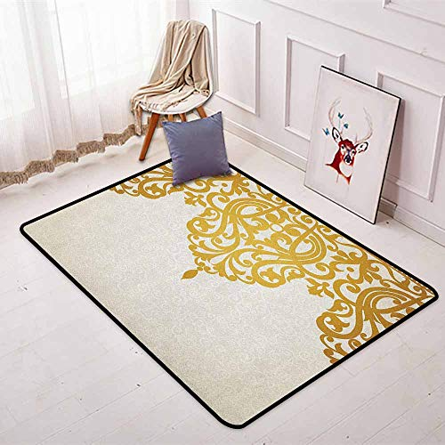 Antique Regional Round Carpet Victorian Style Medieval Motifs with Classic Baroque Oriental Shapes Print Non-Slip Easy to Clean W47.2 x L63 Inch Golden and Cream ()