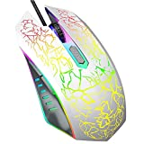 VersionTECH. Wired Gaming Mouse, Ergonomic USB Optical Mouse Mice with Chroma RGB Backlit, 1200 to 3600 DPI for Laptop PC Computer Games & Work -White