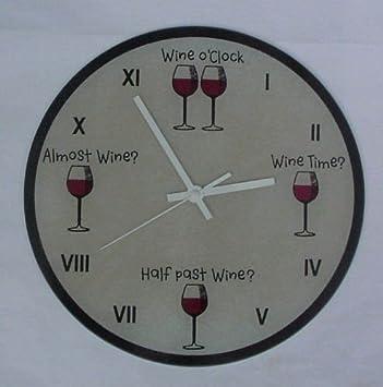 """Reloj de pared de cristal redonda """"para botellas de vino o reloj/"""