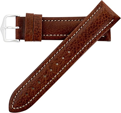 Leather 70's Watch Band (Hirsch Buffalo Artisan Leather Watch Band Strap Brown 18mm Short)