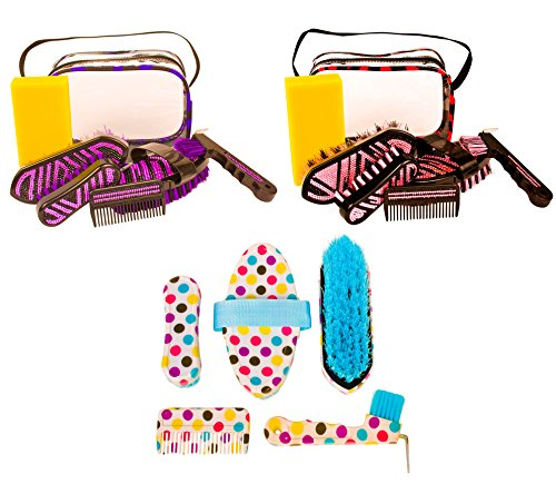 BEAUTIFUL PREMIUM PONY HORSE GROOMING KIT BRUSHES HOOF PICK TOOL SET W CRYSTAL TOTE (Mane Bling)