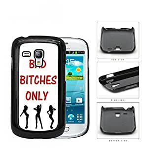 Bad B****** Only Quote in Red with Dancer Girls White Background Hard Plastic Snap On Cell Phone Case Samsung Galaxy S3 SIII Mini I8200