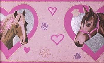 Rasch KidsClub Bordüre Pferde Kinderzimmer Rosa 734300: Amazon.de ...
