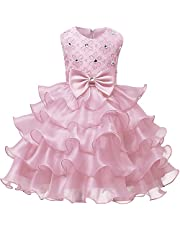 NNJXD Mädchen Kleid Kinder Rüschen Spitze Party Brautkleider Größe(100) 2-3 Jahre Blumen Gelb
