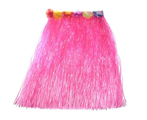 Women's Hawaiian Grass Skirt Flower Hula Lei Garland Fancy Dress Costume (Rose Pink) -