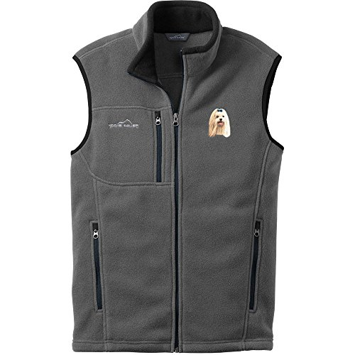 Cherrybrook Dog Breed Embroidered Mens Eddie Bauer Vest - X-Small - Gray Steel - Maltese