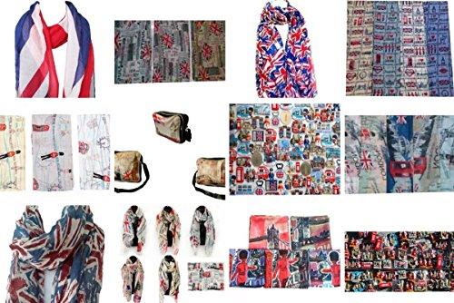 Uk Fridge (London & UK Souvenir Soft Scarfs Scarves Wraps Shawls Womens Girls Unisex (Bundle 3 - Pack of Scarf & Bag + Free Souvenir Fridge Magnet))