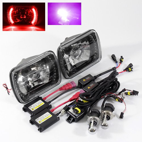 - ModifyStreet 12000K Purple H4-3 Hi/Low Slim HID/7x6 H6014/H6052/H6054 Black Crystal Headlights with Red LED Ring