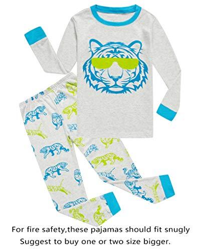 Tiger Little Boys Long Sleeve Pajamas Sets 100% Cotton Pyjamas Toddler Kids Pjs Size 2T -