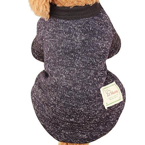 Free Lace Knit Patterns (SGMOER Le Shuang Pet Dog Puppy Teddy Classic Sweater Tops Coat Fleece Warm Winter Knitwear Clothes (XXL, Black))