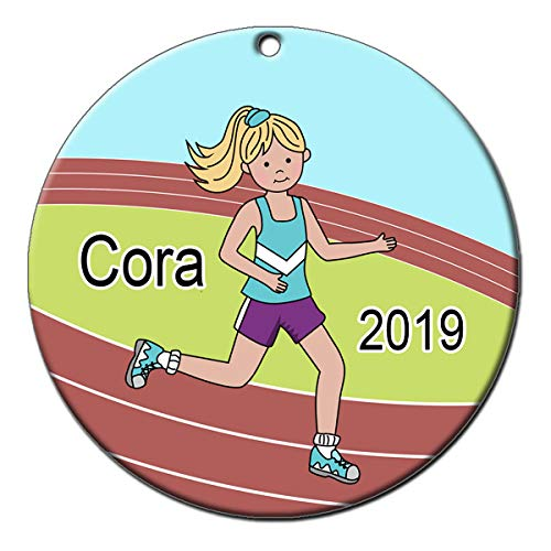 Mandy's Moon Personalized Gifts Running or Track Ornament - Girl with Blonde Hair