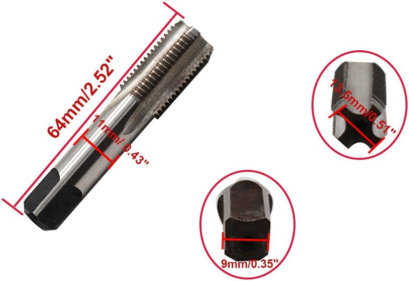 ZXHAO G1//4-19 HSS 4 Flutes 13.5mm//0.51 Dia Piping Thread Tap Round Shank With Square End Hand Tap 2pcs