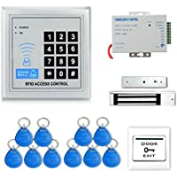 Full RFID Door Access Control System Kit Set (180kg 350LB Electric Magnetic Lock + Armature Faceplate + Access Control Power Supply + Push Release Button + Proximity Door Entry keypad + 10 Key Fobs)