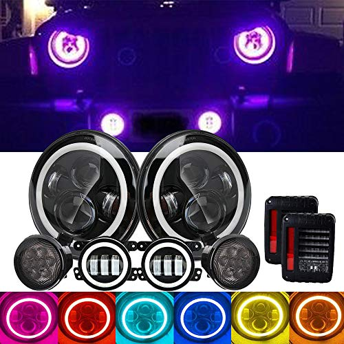 4XBEAM DOT Approved 7Inch Led Round Headlights RGB Halo Hi/Lo Sealed Beam DRL + 4Inch Front Bumper RGB Fog Lights + Amber LED Turn Signal Light + Led Brake Tail Light For 2007-2017 Jeep Wrangler JK