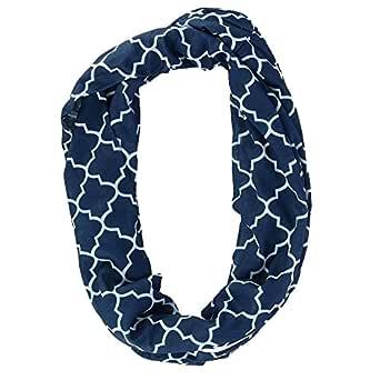 CTM Women's Pattern Infinity Loop Scarf with Hidden Zipper Pocket, Navy