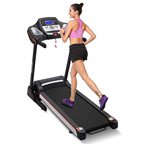 Brinymo 3.0HP Folding Electric Treadmill Running Machine With Heart Rate Sensor (Black)