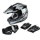 TCT-MT ATV Helmet+Goggles+Gloves DOT Youth Helmet Motocross Hot Black Skull Dirt Bike Helmet Small