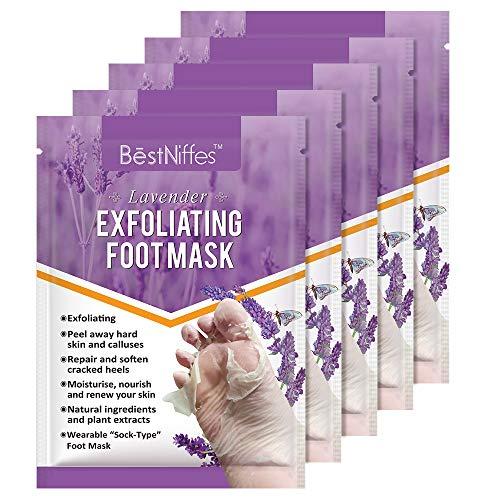 5 Pack Foot Peel Mask, Exfoliating Foot Masks, Natural Exfoliator for Dry Dead Skin, Callus, Repair Rough Heels for Men Women (Lavende 5 pack)