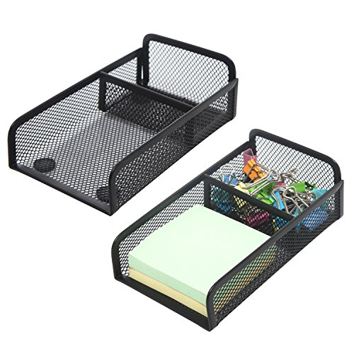 ost-it / Sticky Note Memo Holder, Office Supplies Organizer Tray, Black, Set of 2 (Eraser Memo Holder)