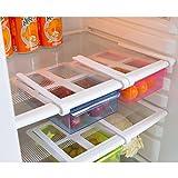 Refrigerator Storage Box, Iusun Slide Fridge Freezer Organizer Refrigerator Storage Rack Shelf Drawer (Blue)