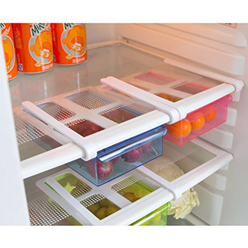 Refrigerator Storage Box, Iusun Slide Fridge Freezer Organizer Refrigerator Storage Rack Shelf Drawer - Lock Cab Drawer