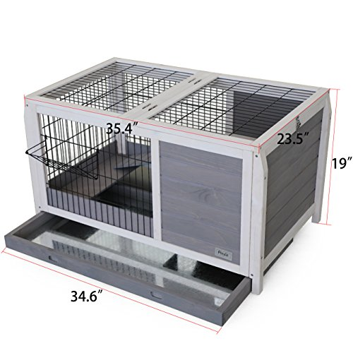 Petsfit-Wooden-Rabbit-Bunny-HutchGuinea-Pigs-Cage-for-Indoor-Use-354Lx235Wx19H-Gray