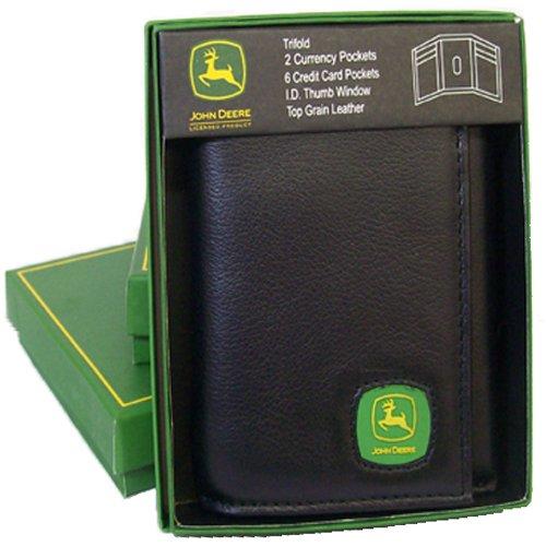 John Deere Men's Tri-Fold Wallet,Black,One Size