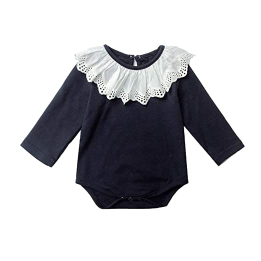 6fc9aa790 Baby Girls' Long-Sleeve Bodysuit Lace Collar Toddler Girls Jumpsuits (Navy,  66