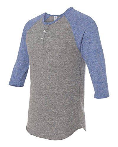rsey 3/4 Sleeve Raglan Henley - 1989, Gray Blue X-Large ()