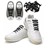 Koollaces No Tie Elastic Slip on Silicone Shoelaces,black,hook Type,2set=16 Pcs