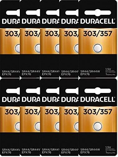 10 Duracell 357 303 A76 PX76 SR44W/SW LR44 AG13 Silver Oxide ()