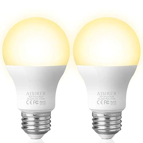 Bombilla Inteligente LED 9W WiFi Lámpara AISIRER LED WiFi Smart Bulb E27 no requiere Hub 2700K