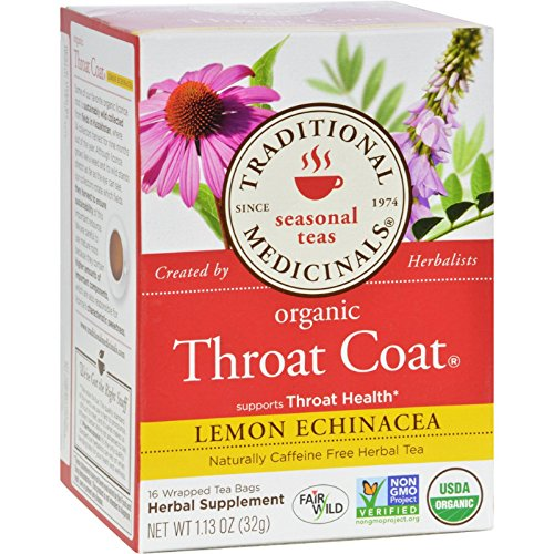 Traditional Medicinals Organic Throat Coat Lemon Echinacea Herbal Tea - Caffeine Free - 16 Bags - 95%+ Organic - Supports Throat Health - Sealed Fresh