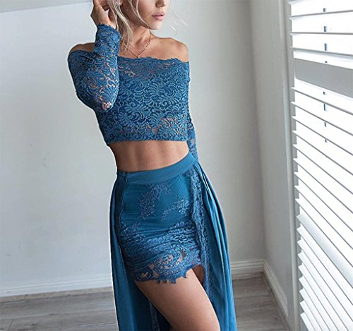 Bainjinbai Elegant zwei Stück Lange Blau Damen Abend Cocktail Ball Formal Kleider Party Kleider