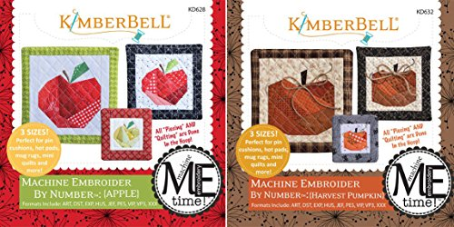 KimberBell Designs Bundle of 2 Embroider by Number ME Time CD's - (Harvest Design)