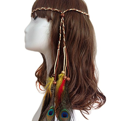 Hippie Khakis (Qinlee Brown Peacock Colorful Indian hippie Peacock Feather Scarf Local Hair Silk Feather Headdress Feather Headdress Hair Band)