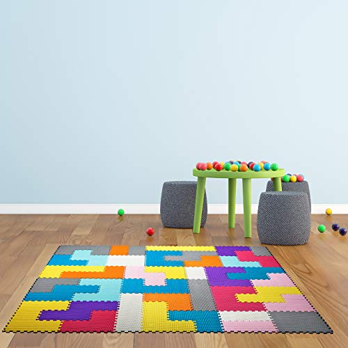 Interlocking Foam Mats for Kids  Floor Mats for Kids - Puzzle Mats for Floor - Colorful Floor Mat  Soft, Reusable, Easy to Clean, Non-Toxic